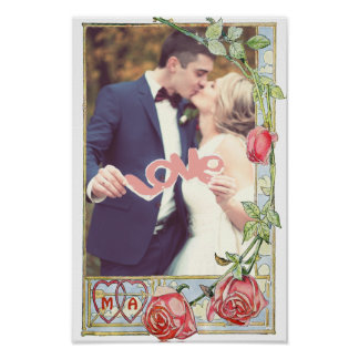 Personalized wedding couple frame poster