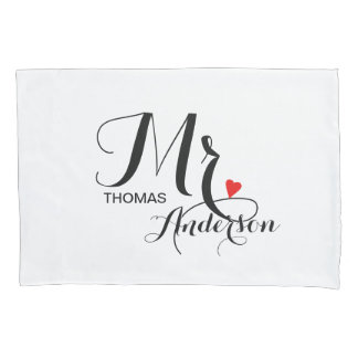 Personalized Wedding Couple - Mister with Heart Pillowcase