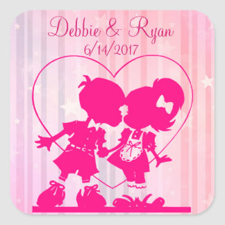Personalized Wedding Couple Pink Love Sticker