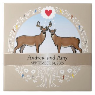 Personalized Wedding Date Anniversary, Buck & Doe Tile