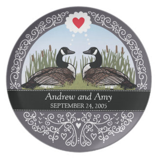 Personalized Wedding Date Anniversary, Geese Plate