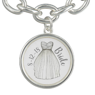 Personalized Wedding Date Bridal Gown Bride Gift Bracelet