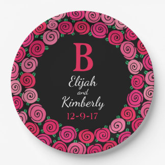 Personalized Wedding Date Monogram Whimsical Roses 9 Inch Paper Plate