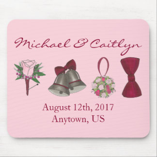 Personalized Wedding Favor Bouquet Bowtie Bells Mouse Pad