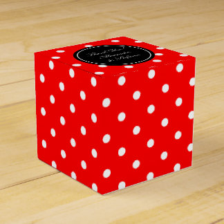 Personalized wedding favor boxes | red polka dots
