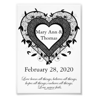 Personalized Wedding Gift, Heart Design Photo Print