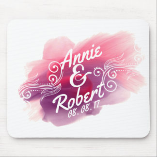 Personalized Wedding Gift Watercolor   Mousepad