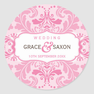 PERSONALIZED WEDDING LABEL savvy flourish pink