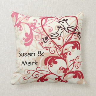 Personalized Wedding Love Birds Throw Pillows