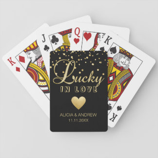 Personalized Wedding LUCKY IN LOVE Gold Black Playing Cards