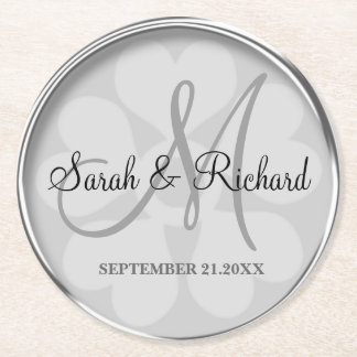 Personalized Wedding Monogram Stylish Silver Round Paper Coaster