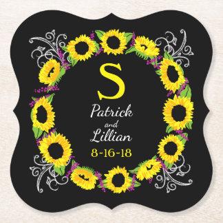 Personalized Wedding Monogram Sunflower Wreath Paper Coaster