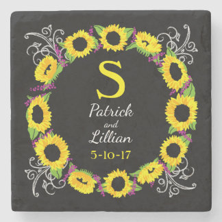 Personalized Wedding Monogram Sunflower Wreath Stone Beverage Coaster