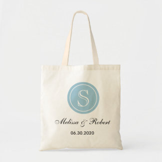 Personalized Wedding Monogram Tote Bag|Blue