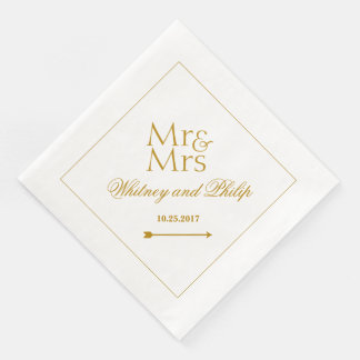 Personalized Wedding Mr Mrs Gold Paper Napkins