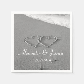 Personalized wedding napkins   drawn heart in sand disposable napkins