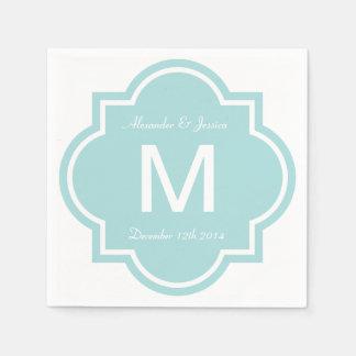 Personalized wedding napkins   Teal quatrefoil Paper Napkins