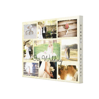 Personalized Wedding Photo Collage Wall Art Cream