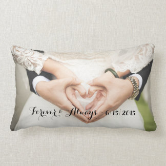 Personalized Wedding Photo Forever & Always Lumbar Pillow