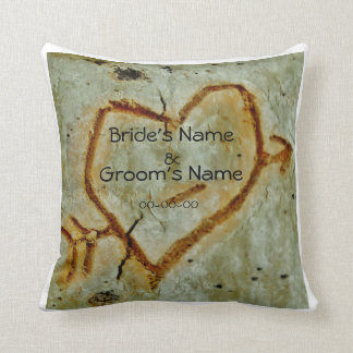 personalized wedding :photo of heart on Aspen tree Throw Pillow