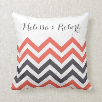 Personalized Wedding Pillow | Chevron Stripes