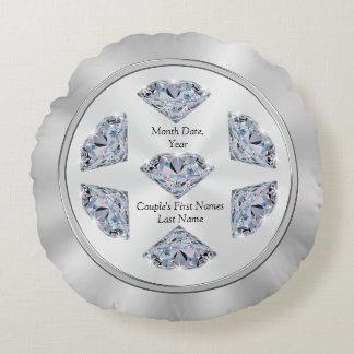 Personalized Wedding Pillows, Diamond Design Round Pillow