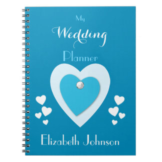 Personalized Wedding planner blue and white Notebooks