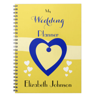 Personalized Wedding planner yellow and royal blue Notebook
