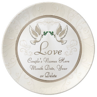 Personalized Wedding Plate Couple's Names, Date