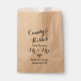 Personalized Wedding Popcorn or Candy Bar Buffet Favour Bag