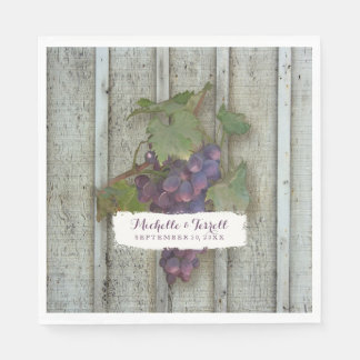 Personalized Wedding Reception Vineyard Grapes Disposable Napkin