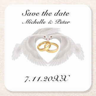 "Personalized Wedding ""Save The Date"" Square Paper Coaster"