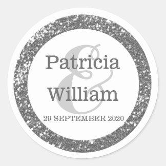 Personalized Wedding Seals   Silver Gray Glitter Round Sticker