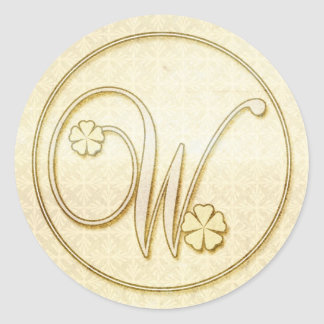 Personalized Wedding Stickers :Initial Monogram W
