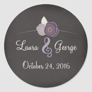 Personalized Wedding Stickers Plum Chalk Floral