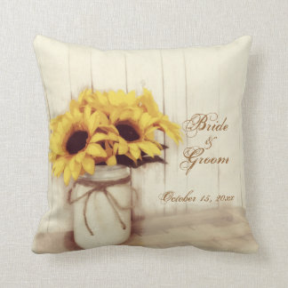Personalized Wedding Sunflowers Mason Jar Pillow