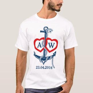 Personalized wedding t-shirt Nautical anchor
