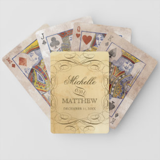 Personalized Wedding - Tea Stained Swirls Vintage Bicycle Playing Cards
