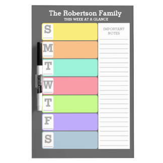 Personalized Weekly Reminder Dry Erase Board