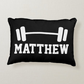 Personalized weightlifting dumbbell throw pillow