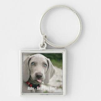 Personalized Weimaraner Dog Photo and Dog Name Keychain