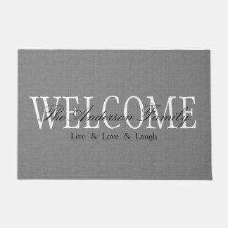 Personalized Welcome Grey Doormat