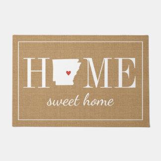 Personalized Welcome Home Arkansas Jute Doormat