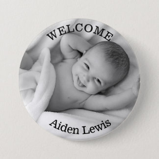 Personalized Welcome New Baby Photo Button