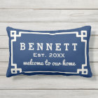 Personalized Welcome Pillow   Navy Blue