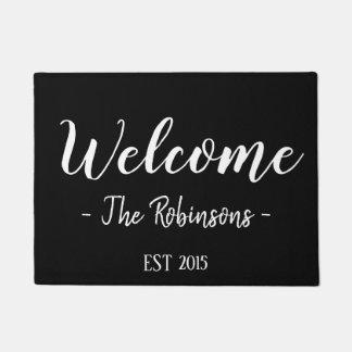 Personalized Welcome Script Modern Doormat