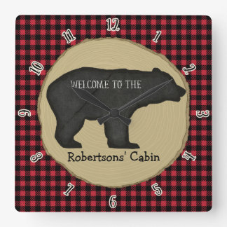 Personalized Welcome Sign Lumberjack Bear Cabin Square Wall Clock