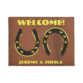 "Personalized ""Welcome"" With Horseshoes Doormat"