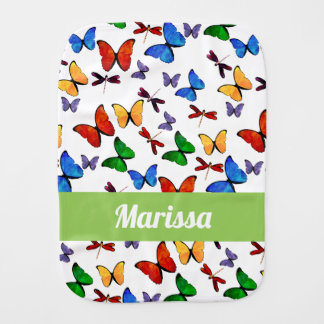 Personalized Whimsical Butterfly Garden Pattern Burp Cloth