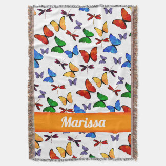 Personalized Whimsical Butterfly Garden Pattern Throw Blanket